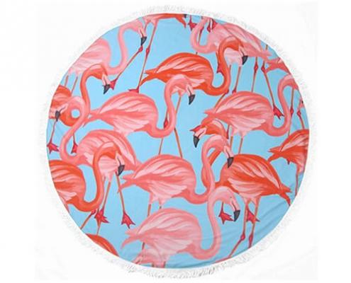flamingo round towel